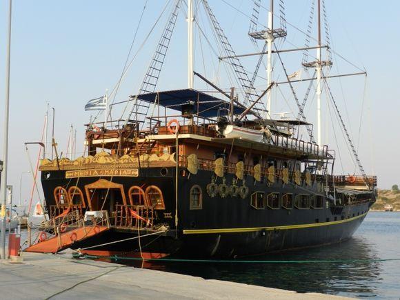 Amazing boat in harbor Omos Panagias...