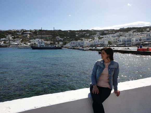 Taking in the beauty of Mykonos while waiting for the ferry to Delos Island
