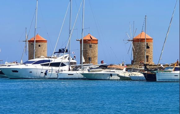 Windmills in the harbor