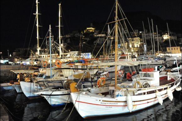 Back from 14 days on Hydra.  The Harbour by night.