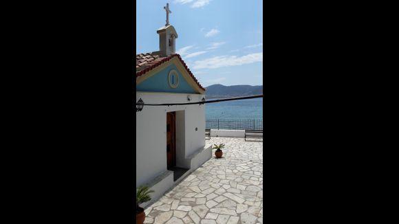 Agios  Spyridon Temple. Built on the surf of the sea. Porto Rafti.