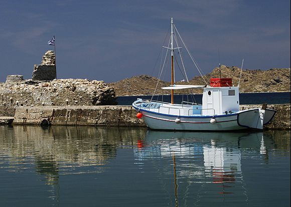 Boat in harbour, Naousa, Paros