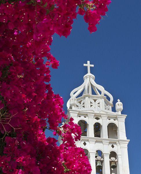 Church with bougainvillea