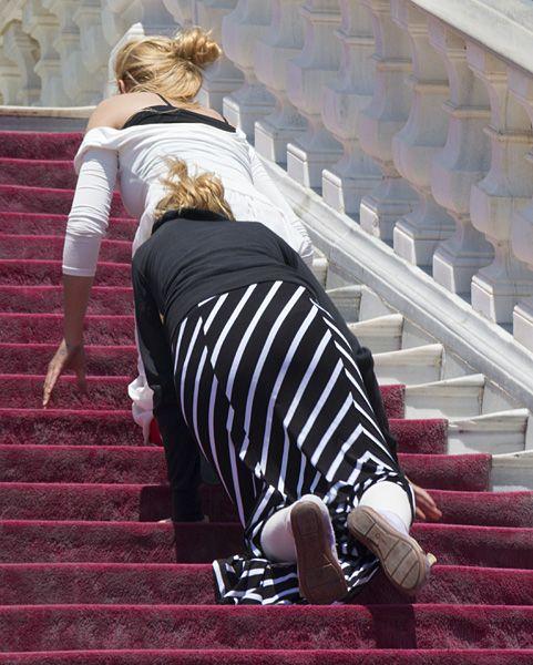 Ascending on their knees
