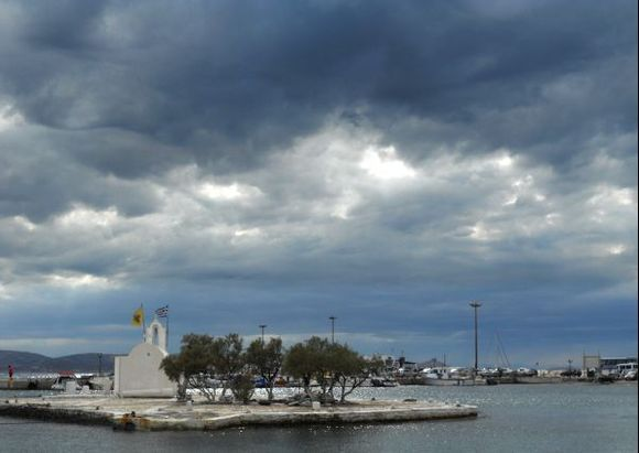 Cloudy evening in Naxos harbour.