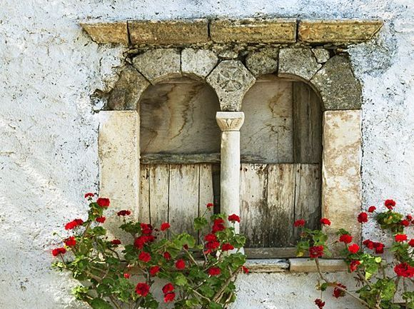 Old window in the town square.