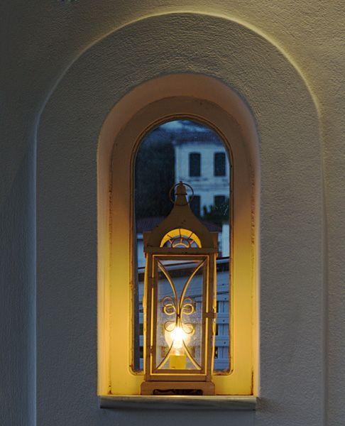Restaurant lantern in the evening
