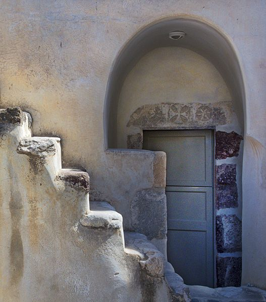 Stairs, door and arch