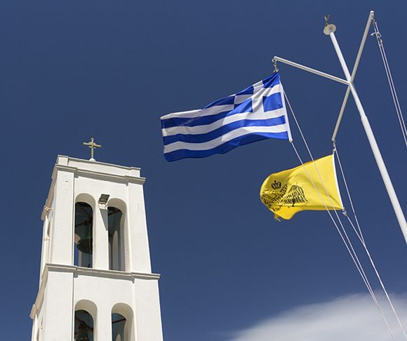 Church and flags in Chora