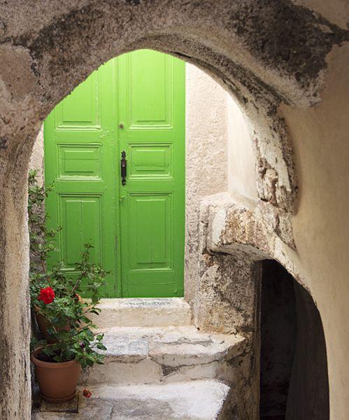Green door and arch