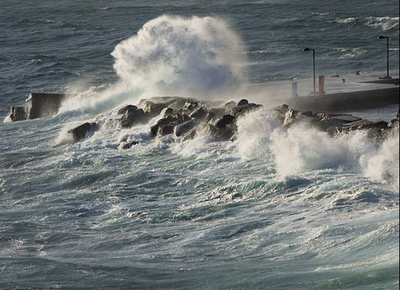 Force 7 winds at Batsi harbour