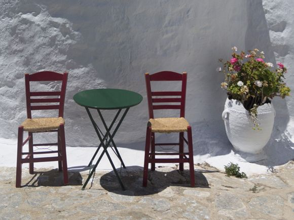 Chairs by the chapel.
