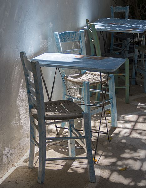 Tables and chairs in Chora