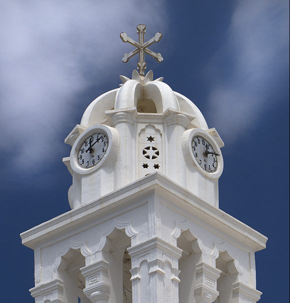 Church steeple in Megalochori.