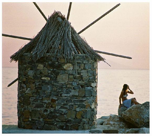 Decorative windmill at the port of Aegiali. Amorgos, 2003
