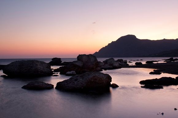 Dusk across the rocks at Plakias
