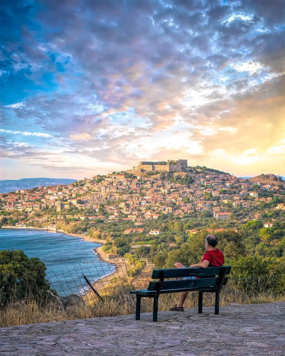 Great spot to sit and admire the view of magnificent Molyvos.