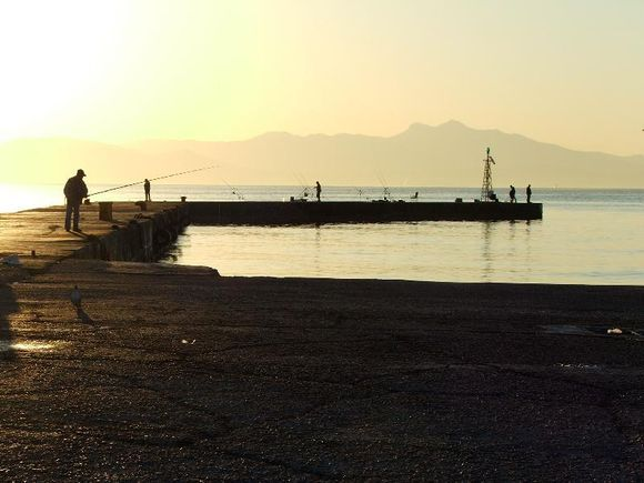 Fisherman on the dock at the ferry port of Rafina.