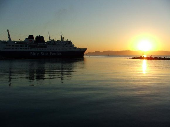 First light at the ferry port of Rafina.