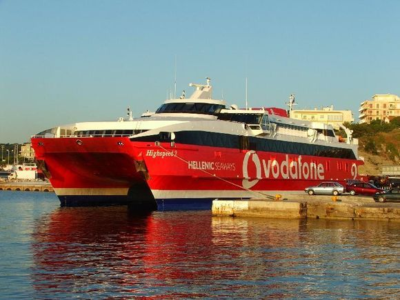 HighSpeed 2 waits departure for Mykonos at the ferry port of Rafina.