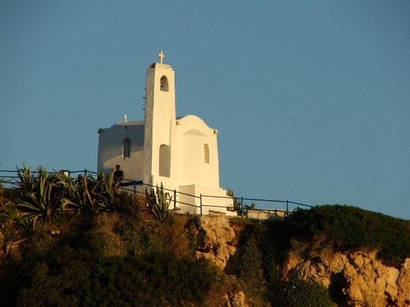 Early morning light on a small church overlooking the ferry port of Rafina.
