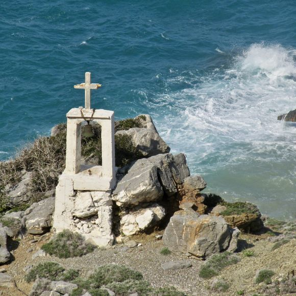 On the rugged east side of Olympos, quite a challenging hike down to say a prayer :)