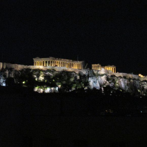 The awe-inspiring Acropolis lit up at night.