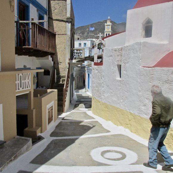 The steep and winding alleyways of Olympos.