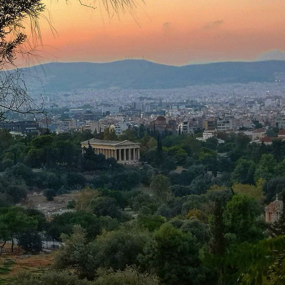 Sunset looking over the Ancient Agora from Areopagus Hill