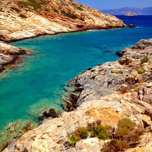 Quiet bay of Sikinos  with Ios in view