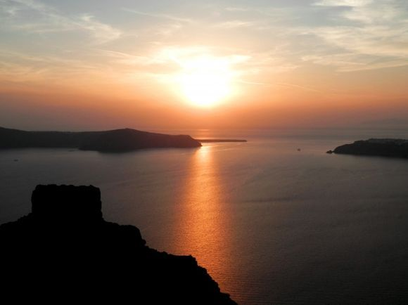 Sunset at Skaros rock