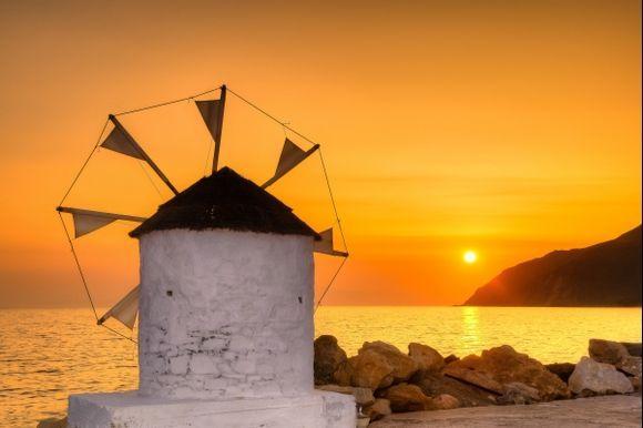 Sunset in Aegialis, Greece