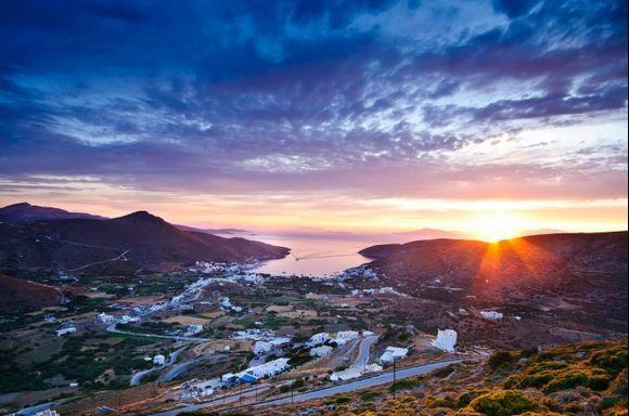 Sunset in Katapola bay on Amorgos