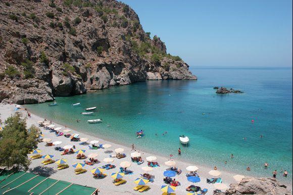 The beach of Achata on Karpathos.