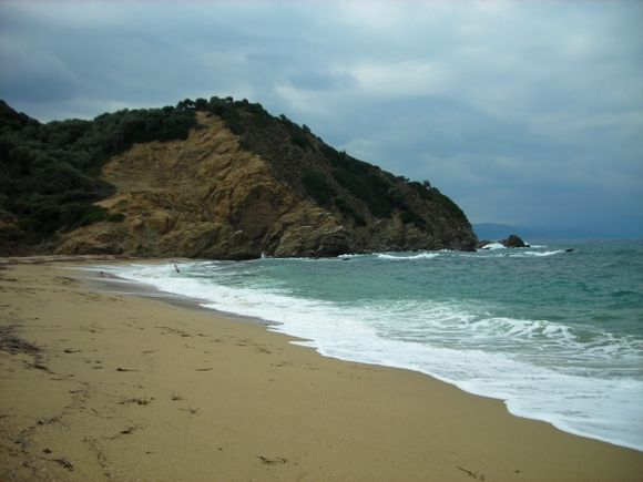 Aselinos beach, Skiathos, on a cloudy day in late summer.