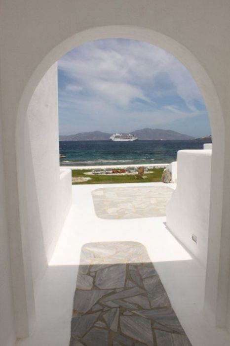 View from the courtyard at the Mykonos Bay Hotel