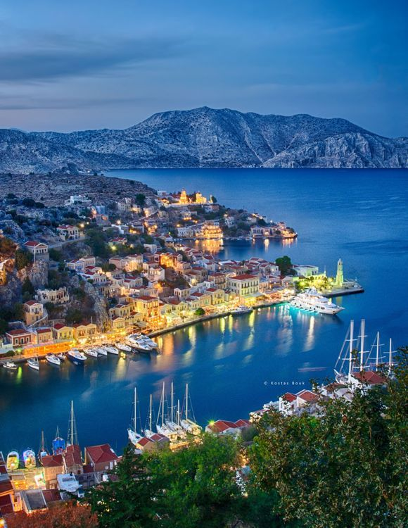 The colourful port of Symi island!