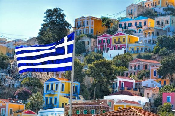 Symi island:a perfectly painted image of a scenic traditional village!