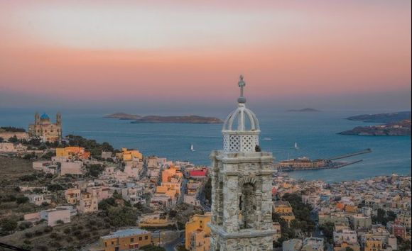 Ano Syros -known as the Catholic quarter- on the top of the hill provides a spectacular view of Ermoupoli and its port!