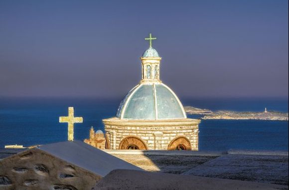 The blue domed church that perfectly matches the blue Greek sky and the Aegean Sea!