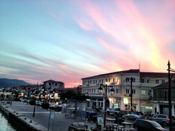 SUNSET AT LEFKADA TOWN