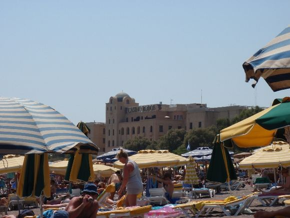 rhodos \'s  casino seen from the beach