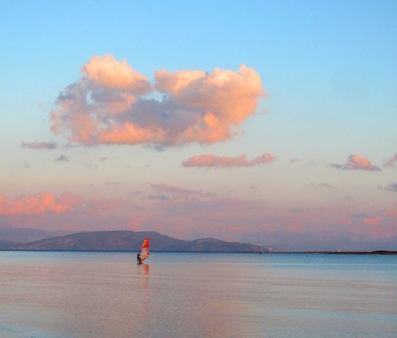 Windsurfer and cloud... (an unexpectedly tranquil sea in December)