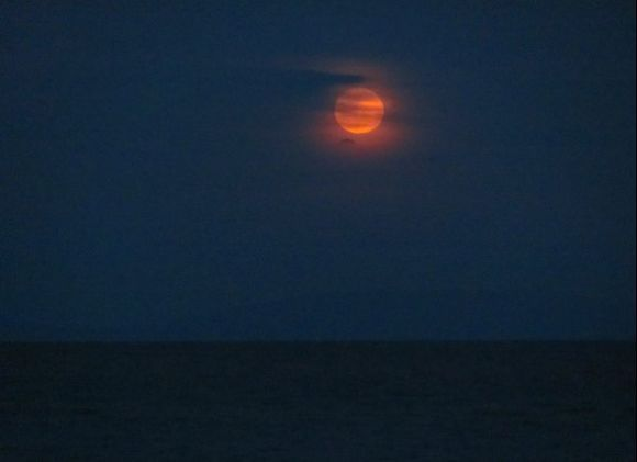 Red full moon with thin clouds