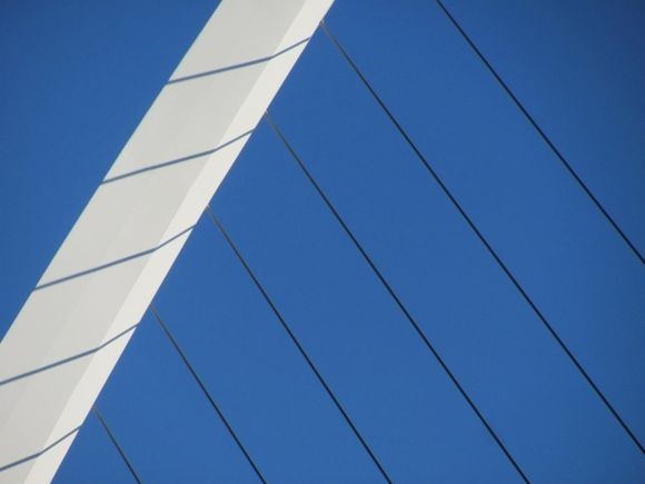 Looking up (Detail from the suspension bridge for pedestrians on Mesogeion Avenue, by Spanish architect Calatrava)