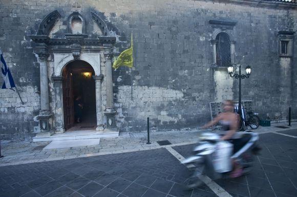 Lefkada,city : scooter & church