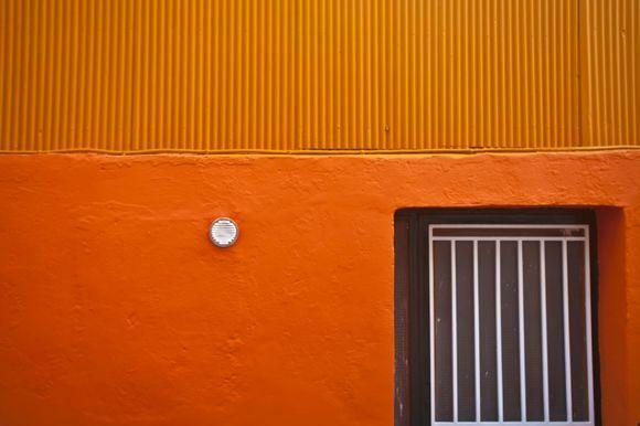 lefkada city : orange house as geometric abstraction