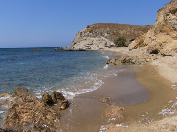 Beautiful secluded beach of Mikro Roukounas