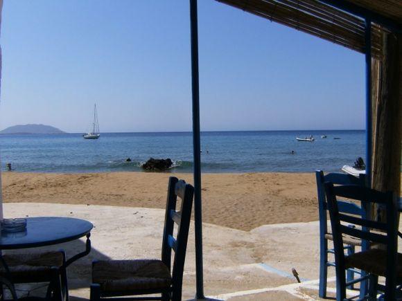 Peaceful afternoon at the beach of port of Agios Nikolaos
