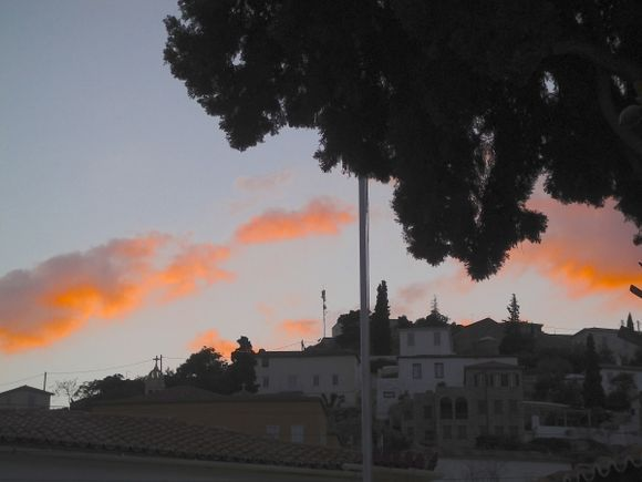 Amazing color of the clouds, sunset in Hydra, spring 2014